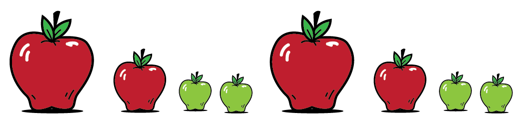 8 apples in a row. First, a big red apple. Next, a medium red apple. Then, two small green apples. Next, a big red apple. Then, a medium red apple. Last, 2 small green apples.