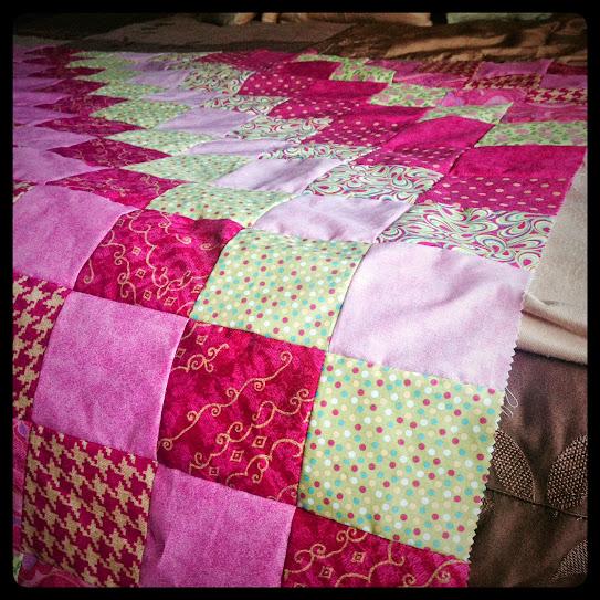 pink block quilt