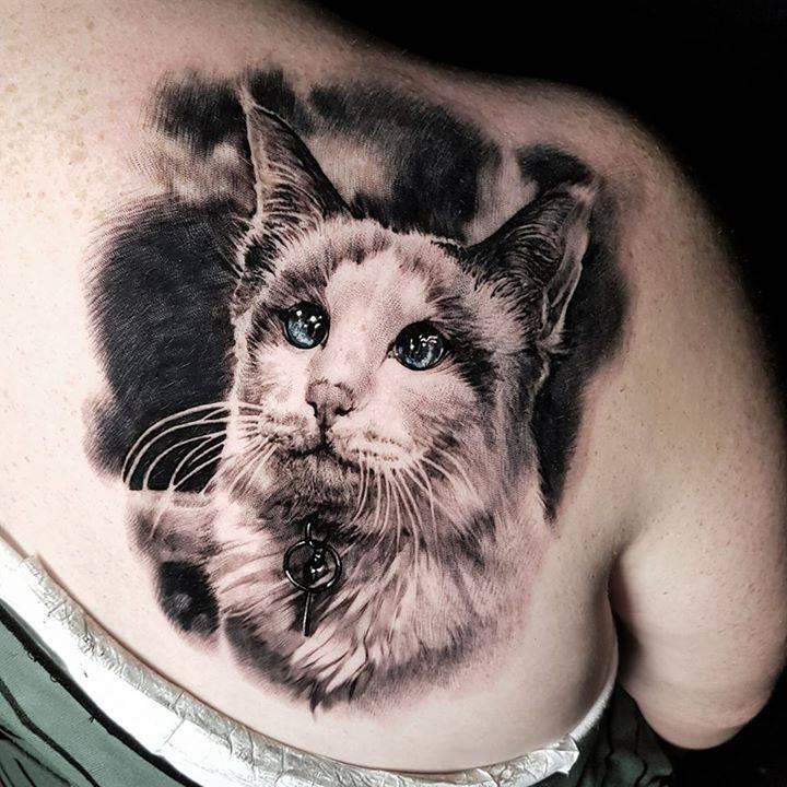 ลายสักแมวขาวดำ9