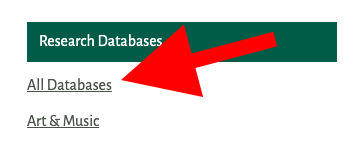 Partial view of the of the Research Databases List with a red arrow pointing toward All Databases