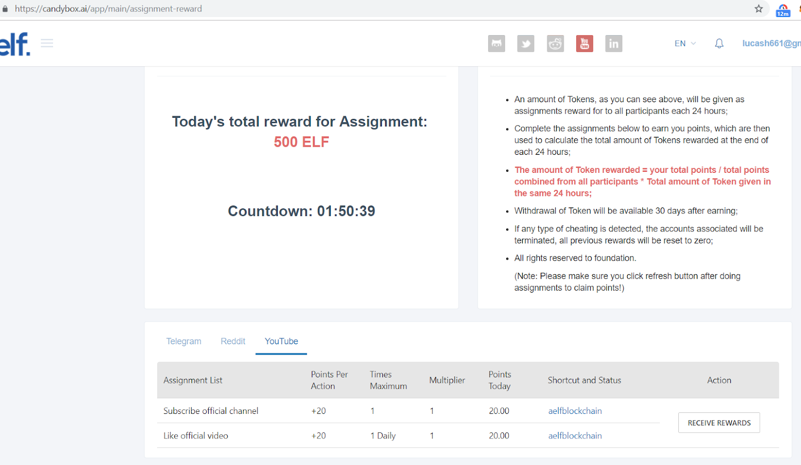 Aelf screen shot of Today's total reward for assignment.