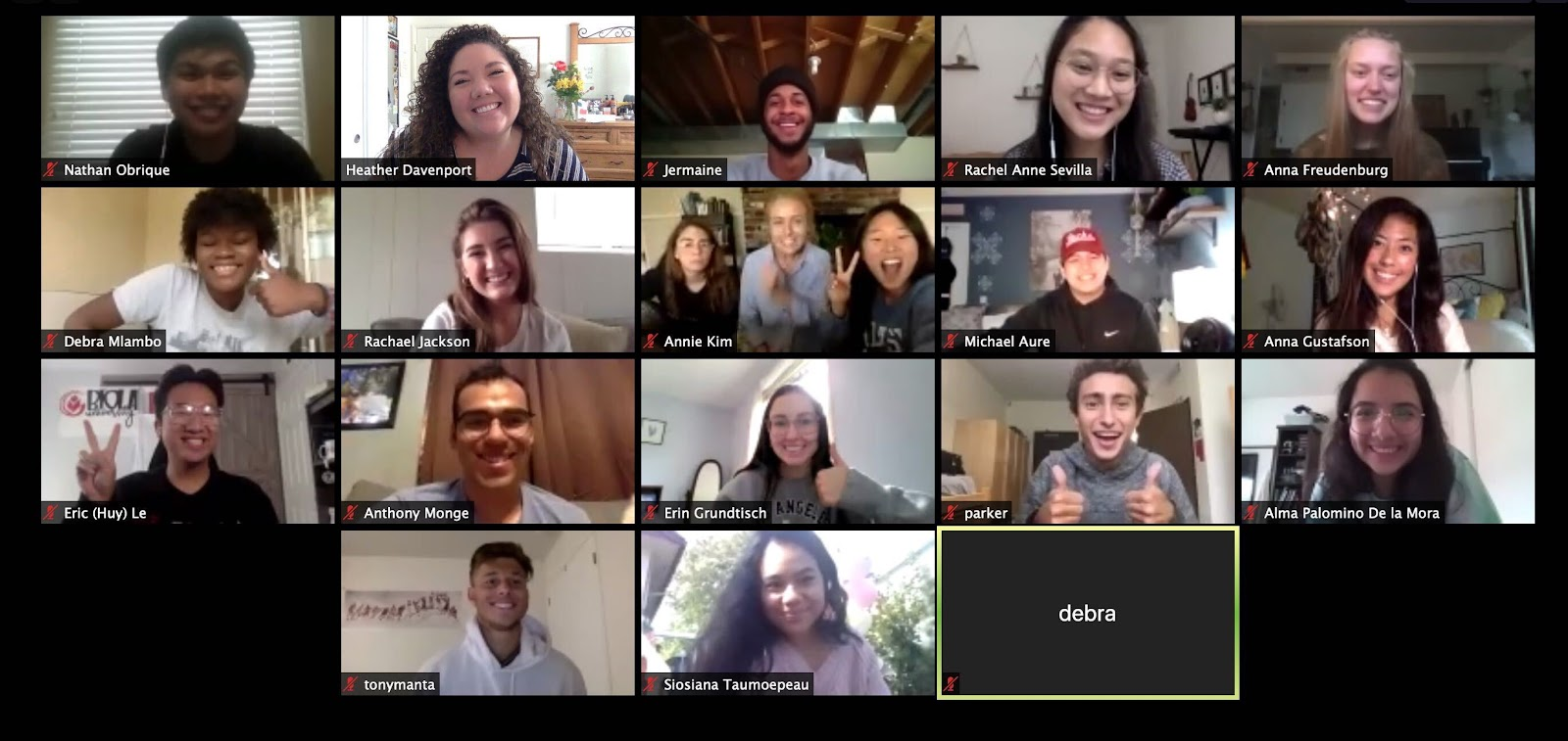 The Ambassafam — a Zoom screenshot of 20 people smiling, all are part of Biola's Ambassador Family