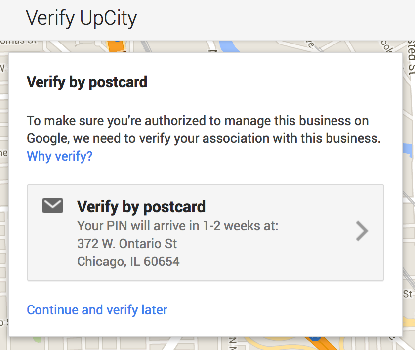 google plus local verify by postcard