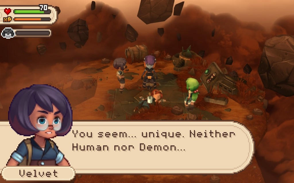 The game's story is centred around a global conflict between Humans and Demons.