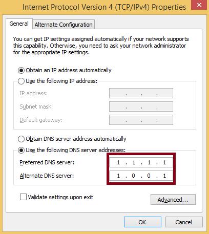 enter 1.1.1.1 & 1.0.0.1 in the Preferred DNS server and Alternate DNS server
