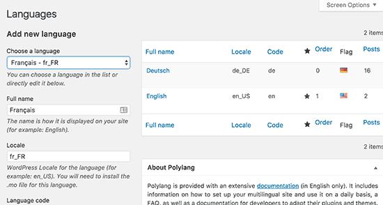 Thêm ngôn ngữ trong Polylang