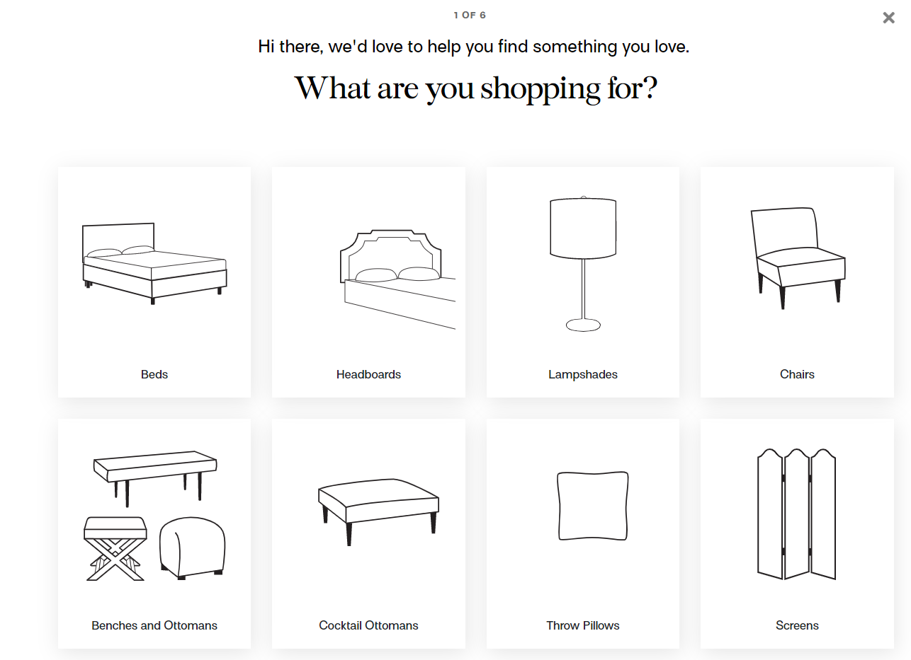 quiz question with furniture categories