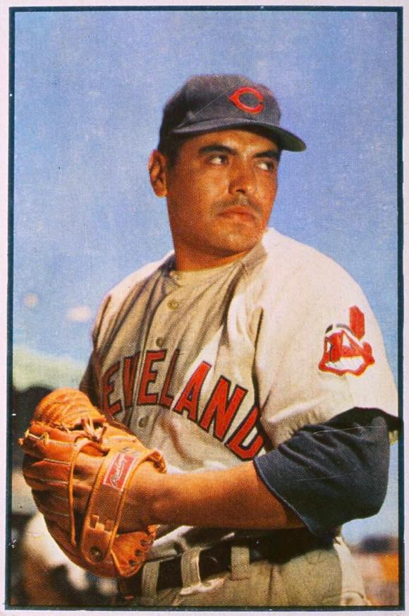 CIRCA 1953. Mike Garcia, pitcher for the Cleveland Indians, poses for a portrait (with a red-skinned logo). photo credit: Getty images.