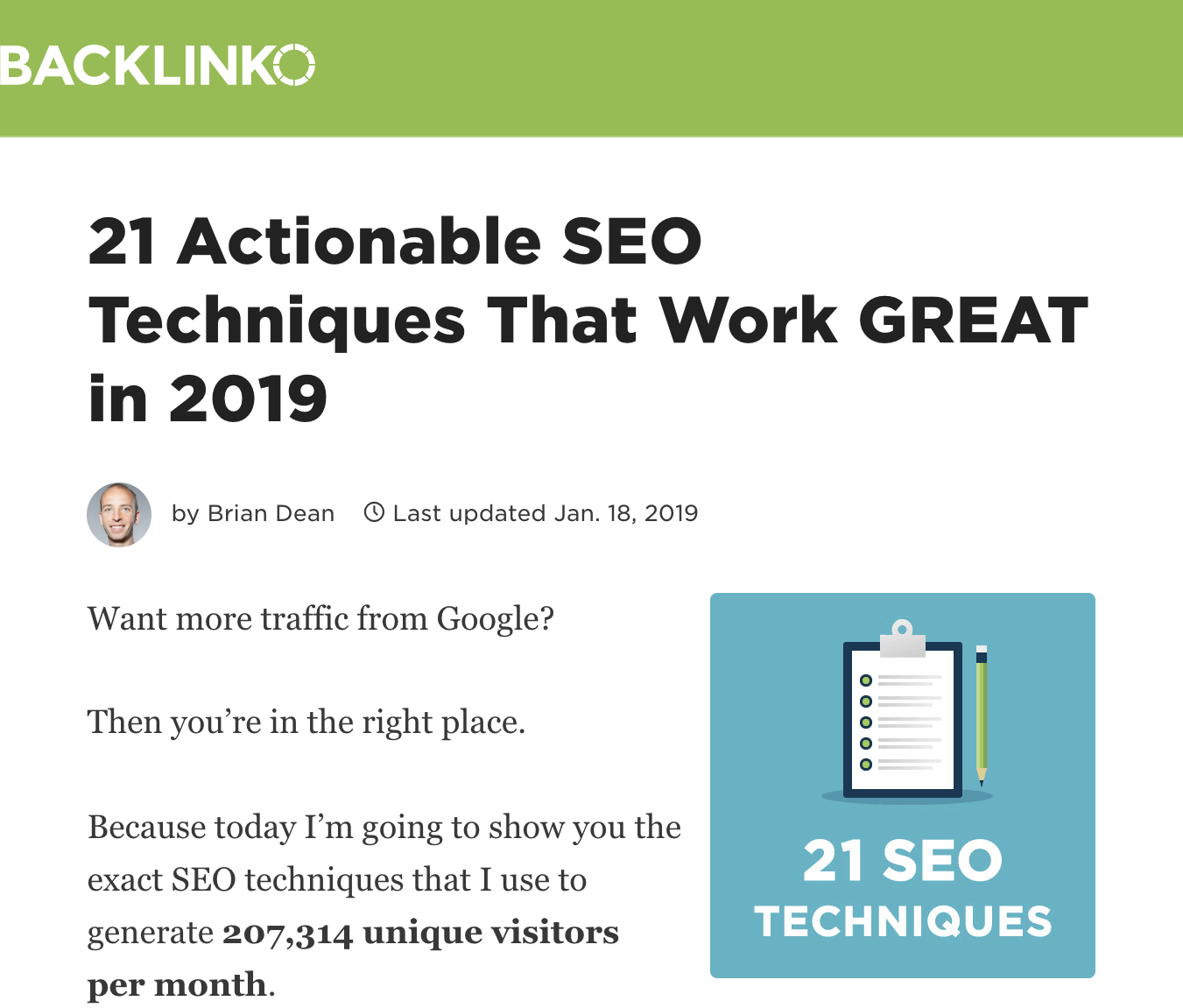 Long Form SEO - 21 Actionable SEO Techniques that work great in 2019