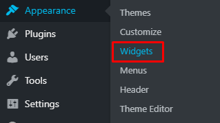 Menu widgets di sidebar WordPress