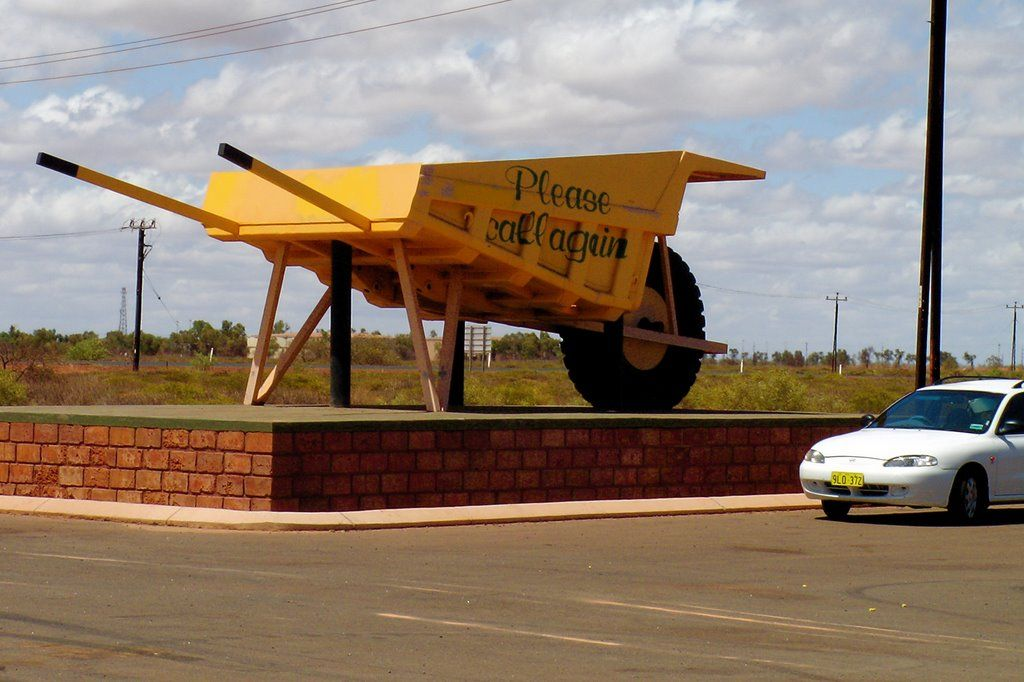 The Big Wheelbarrow  - a giant wheel barrow at the side of the road