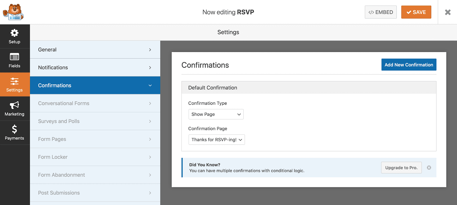 Set up a redirect in WPForms for RSVP