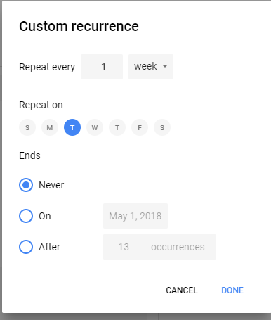 Google Calendar Custom Repeat Settings
