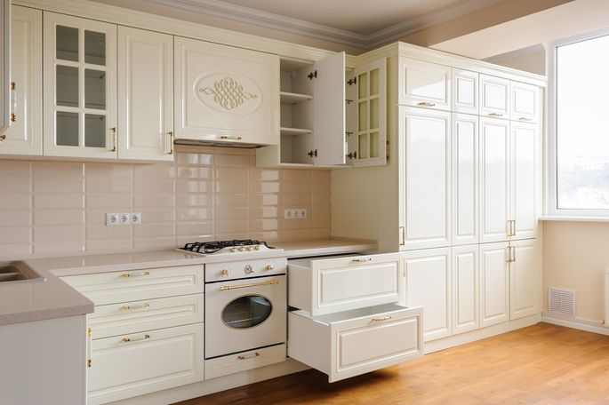 Cabinet drawers make aging in place easier.