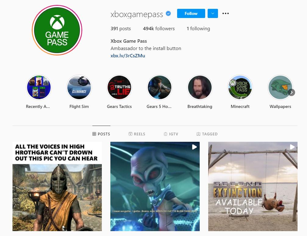 Xbox Game Pass Instagram profile
