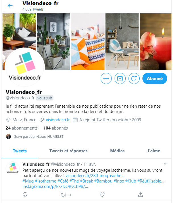 page twitter visiondeco