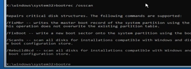 enter the osscan command and close command prompt window