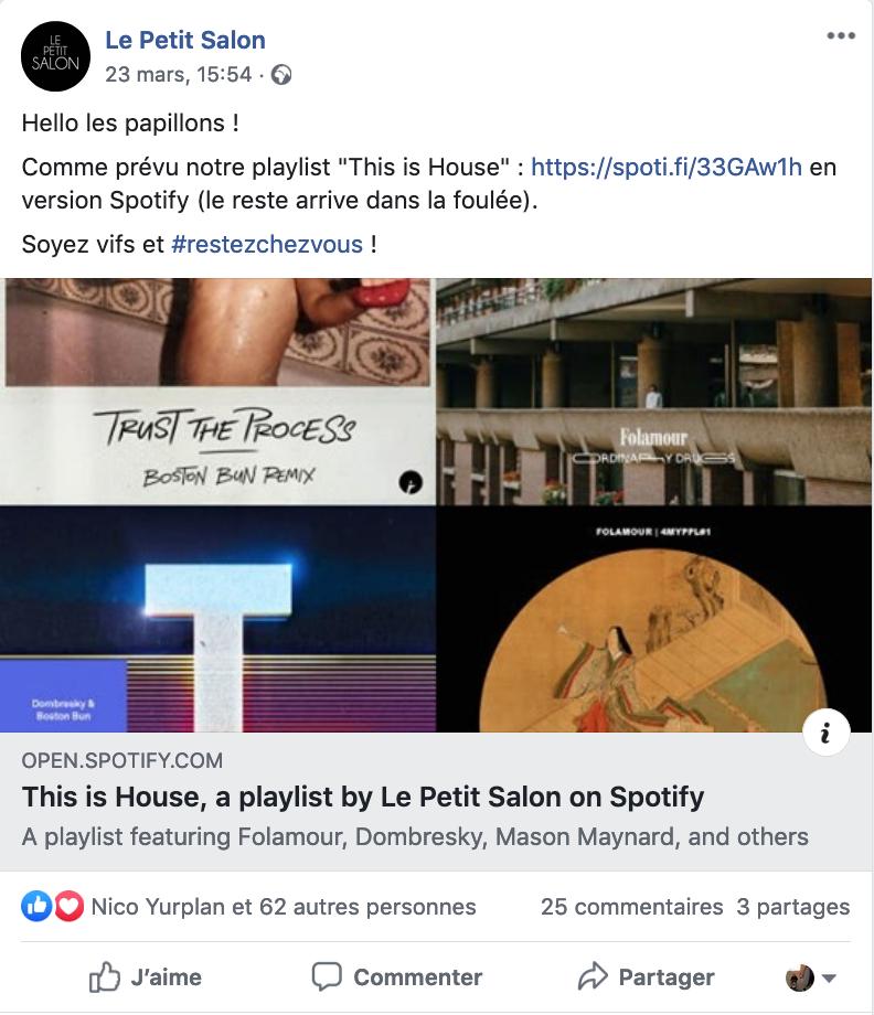 Post facebook du Petit Salon pendant le confinement