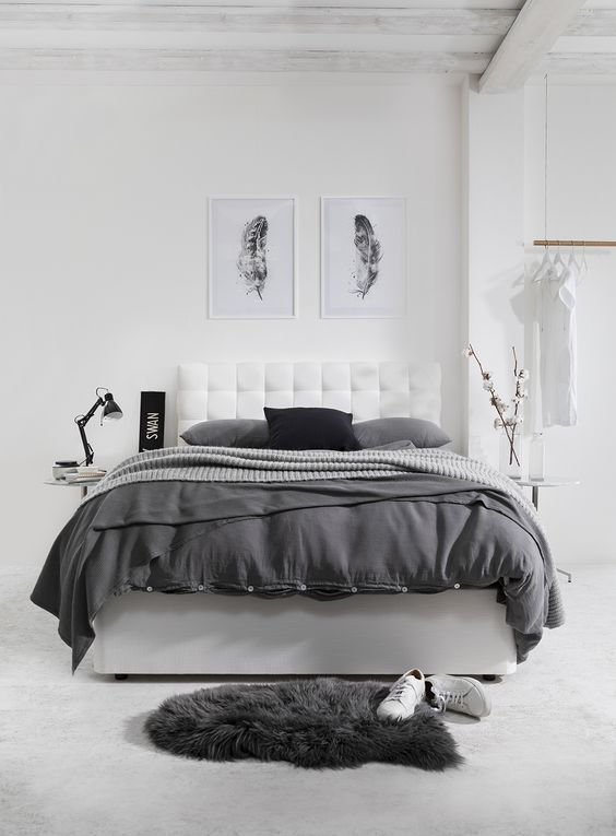 Gray and White Bedroom in Minimalist Decorating Style