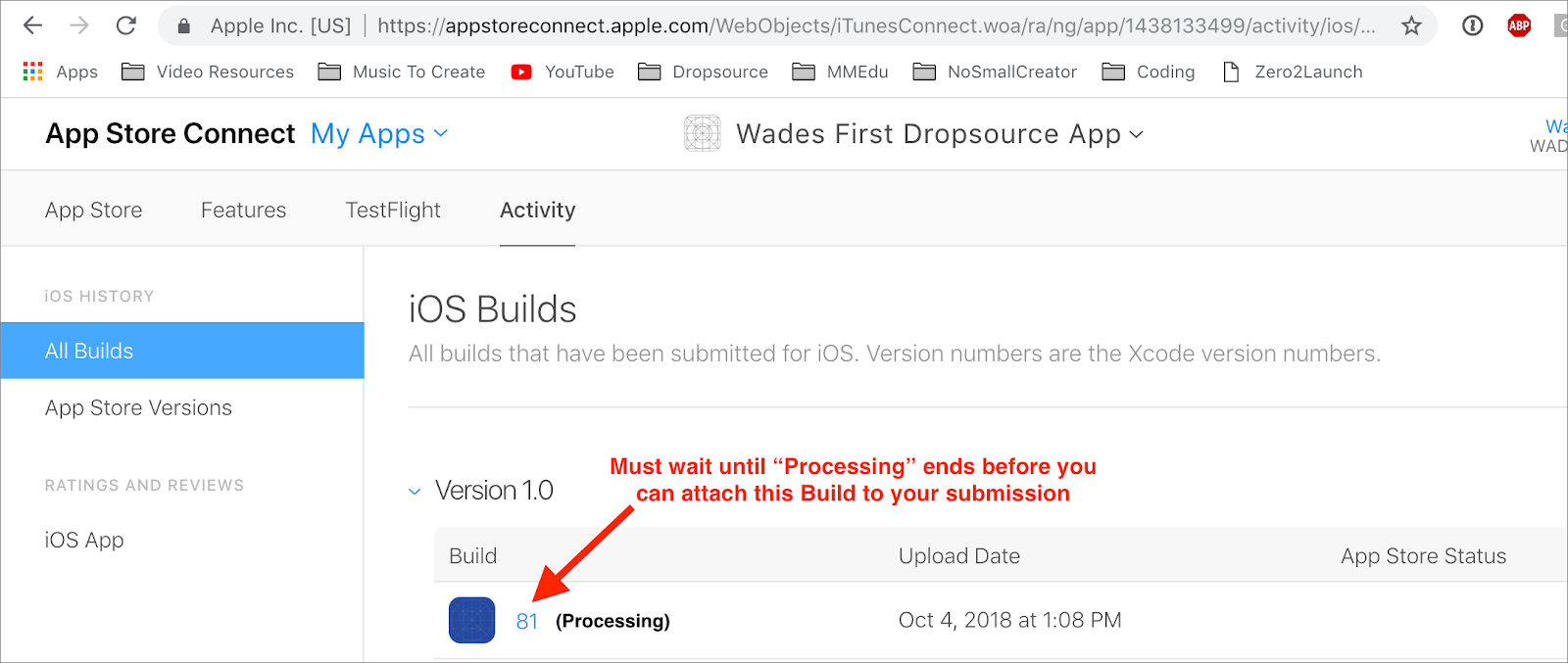 appstore connect processing