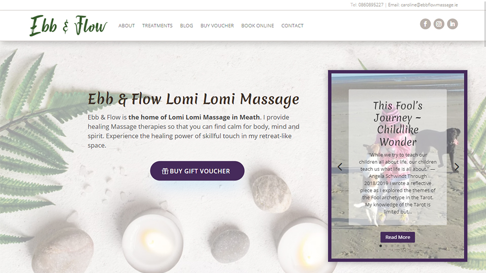 Ebb and Flow Massage Website Preview Image