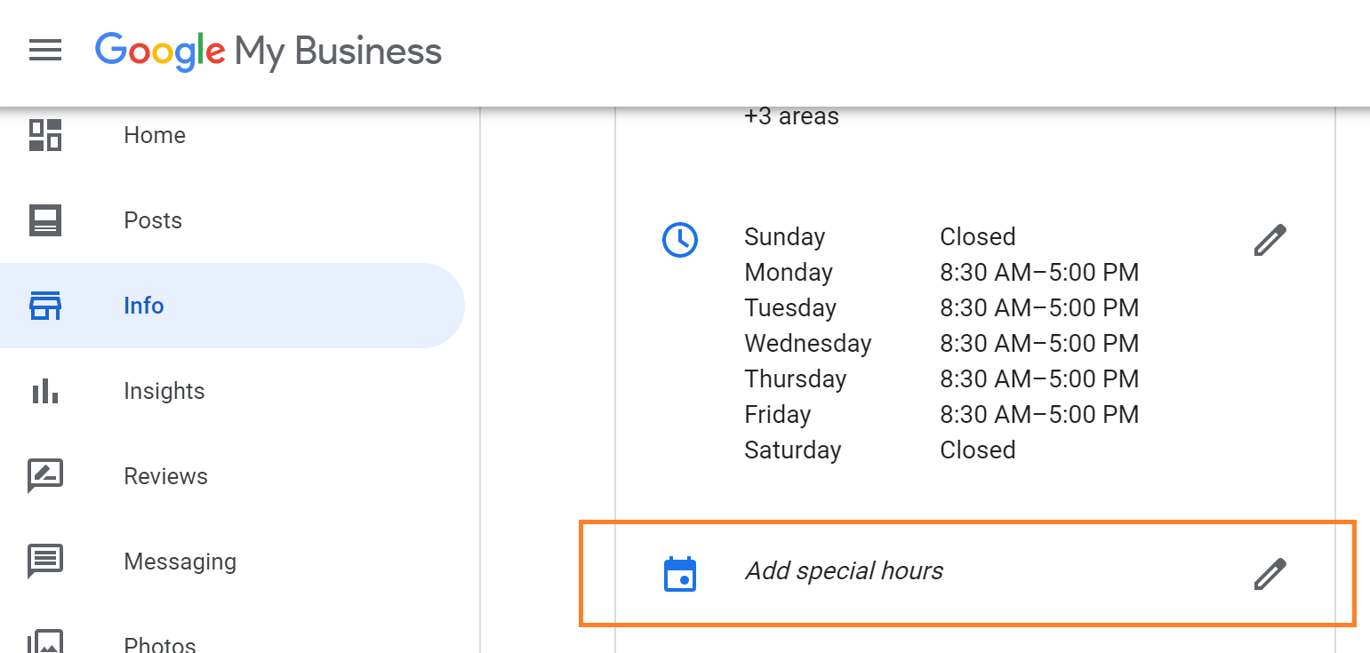 adding special business hours to Google My Business listing