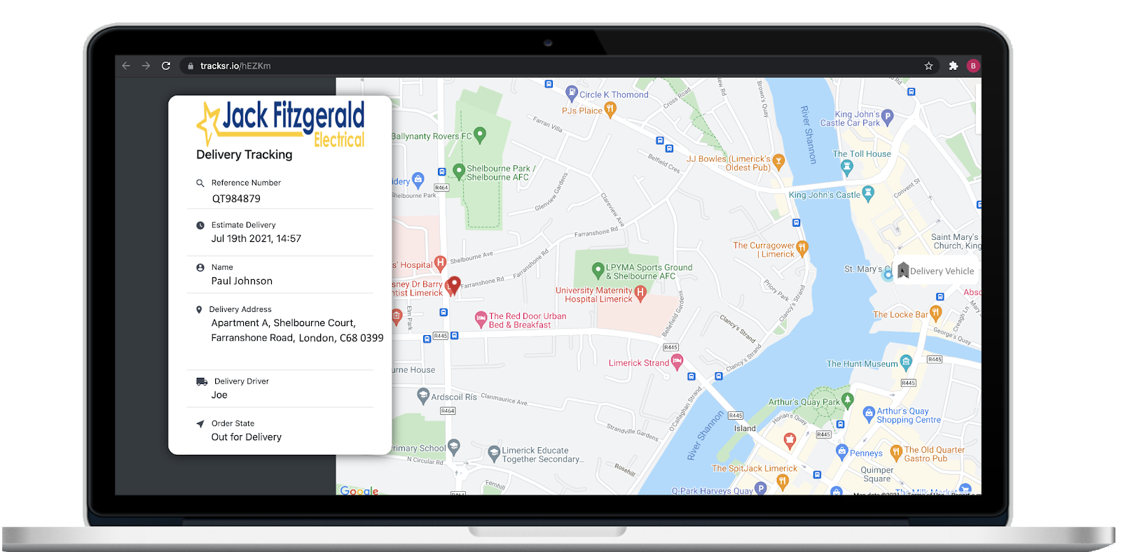 SmartRoutes Customer Tracking Portal