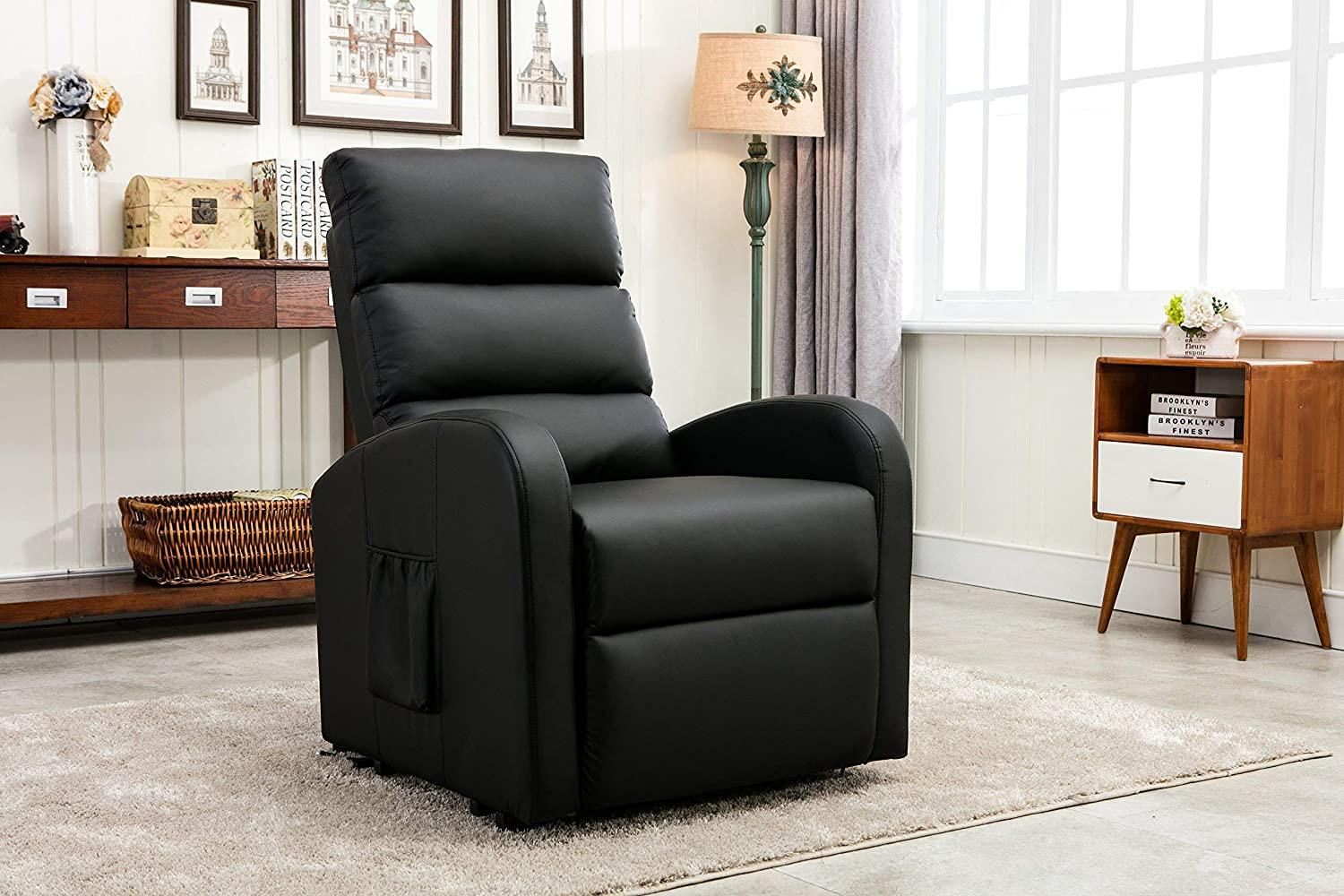 black Plush leather recliner