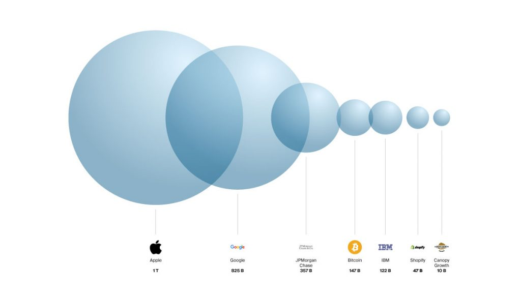 market cap apple, google, jpmorgan, bitcoin, etc