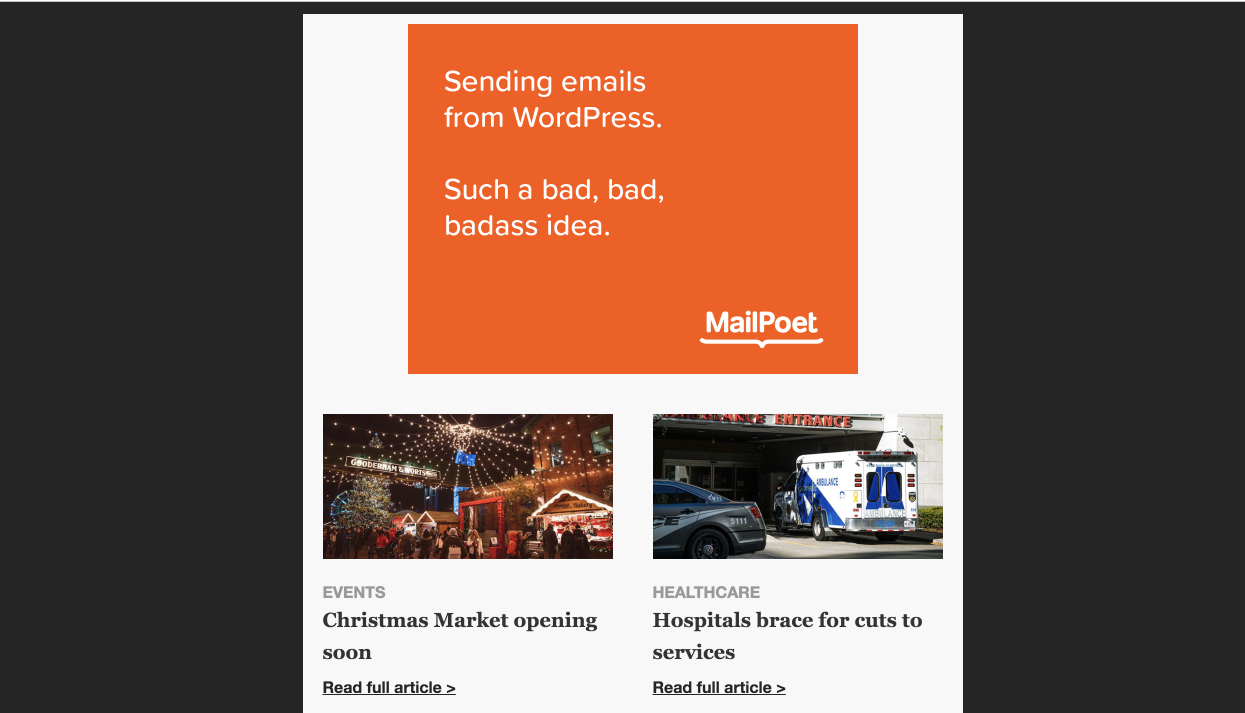 Example showing a MailPoet ad rendered in a newsletter.