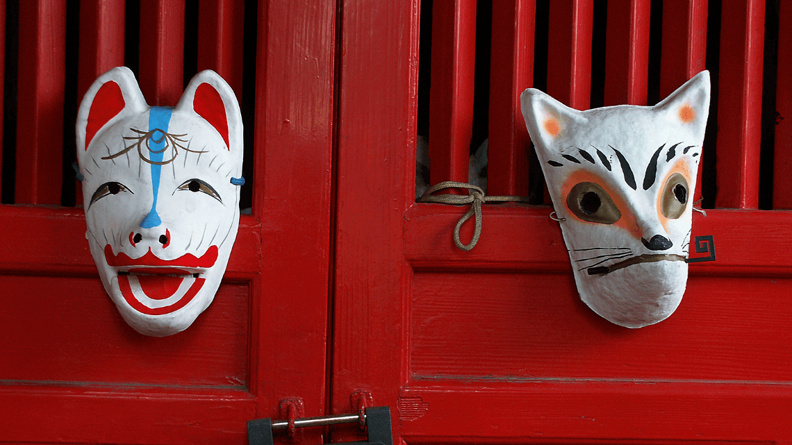 Japanese kitsune (fox) masks