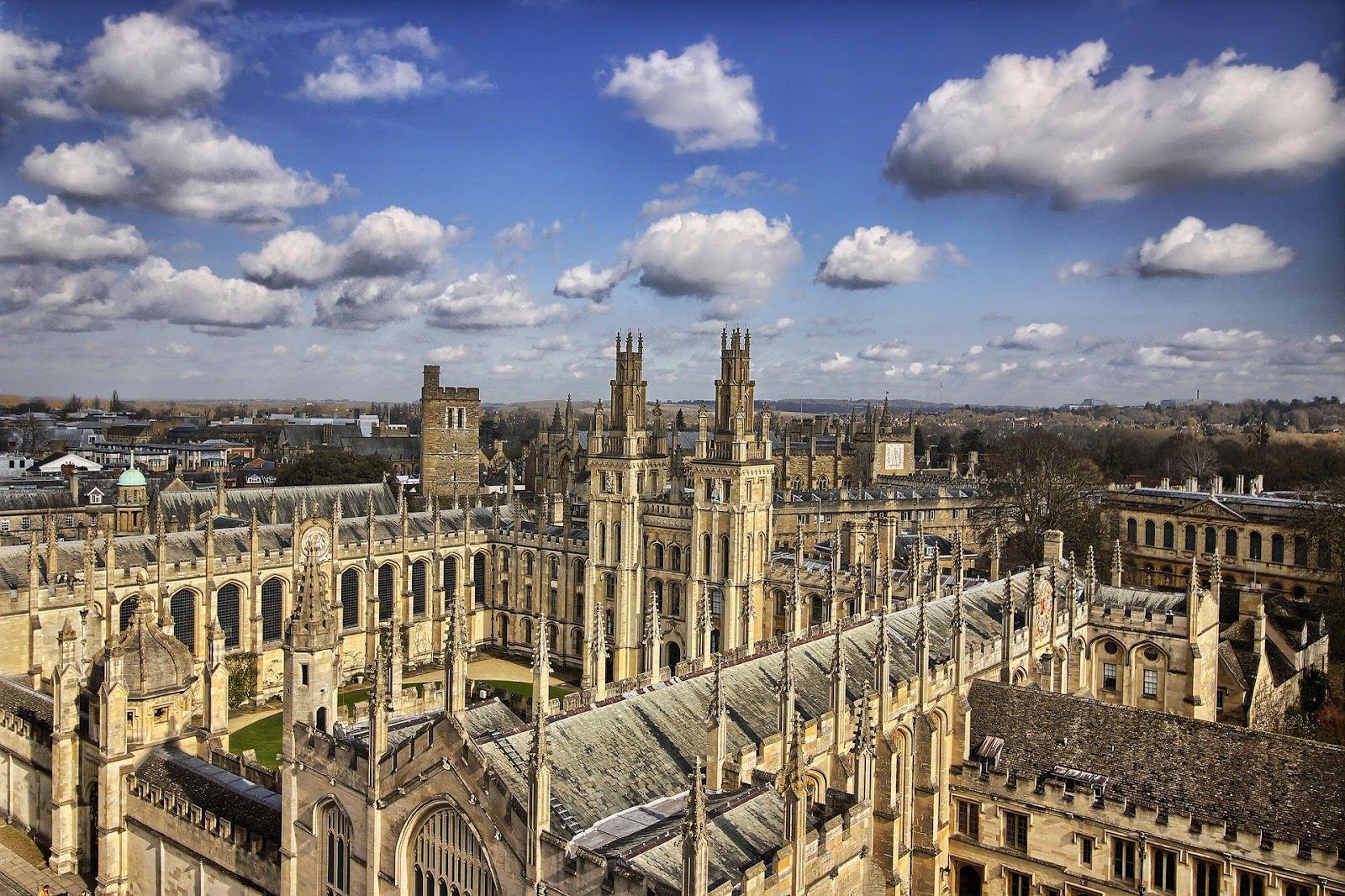 prestigious oxford university view from above. gothic architecture, large university campus in united kingdom on a sunny day.
