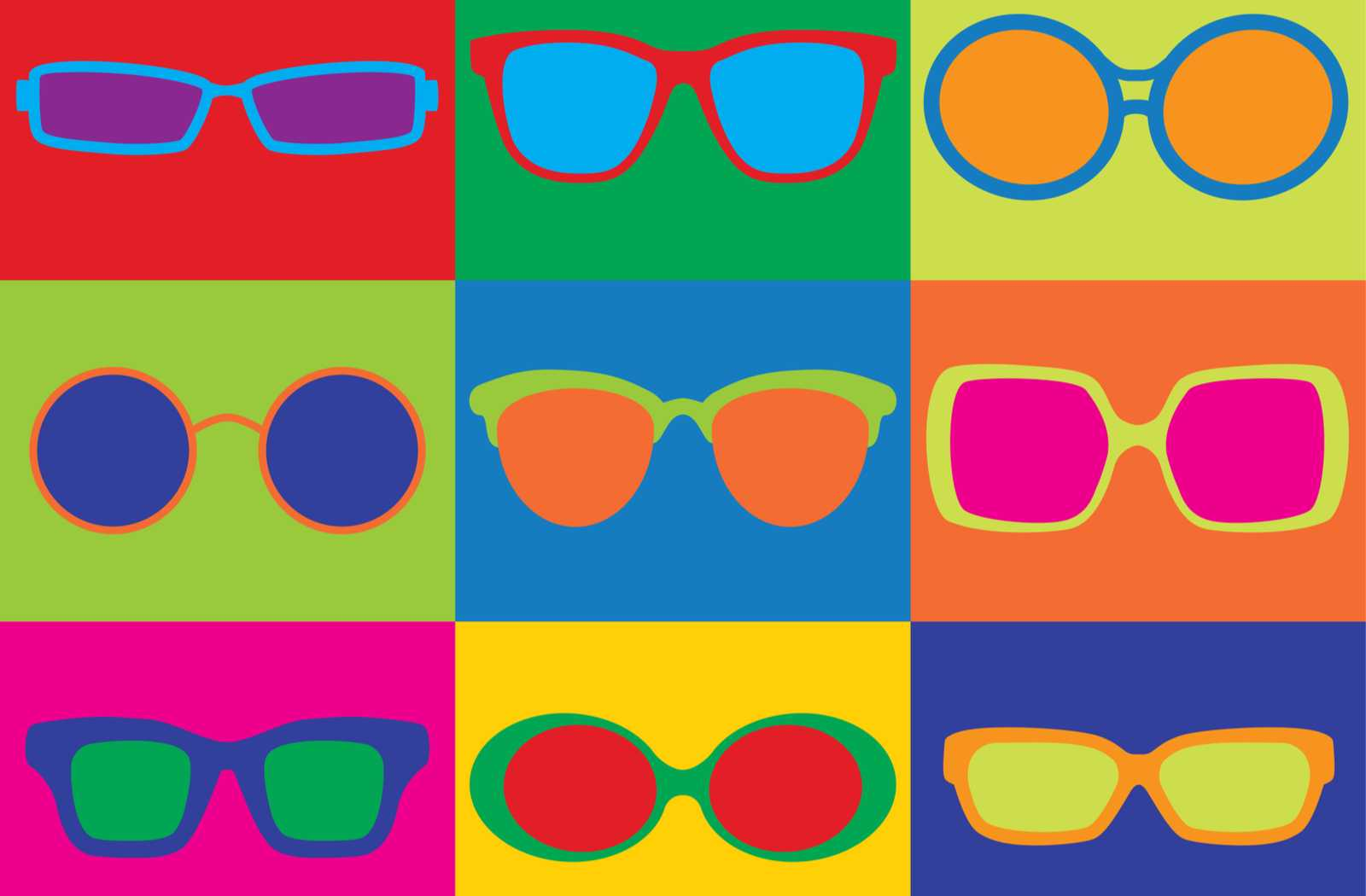 pop art collage of 1950s, 1960s, 1970s, and 1980s retro eyeglass frames in bold and brilliant colours