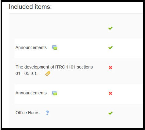Screenshot of included items in data import