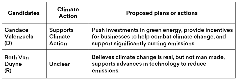 Summary of Candace Valenzuela and Beth Van Duyne's climate plans