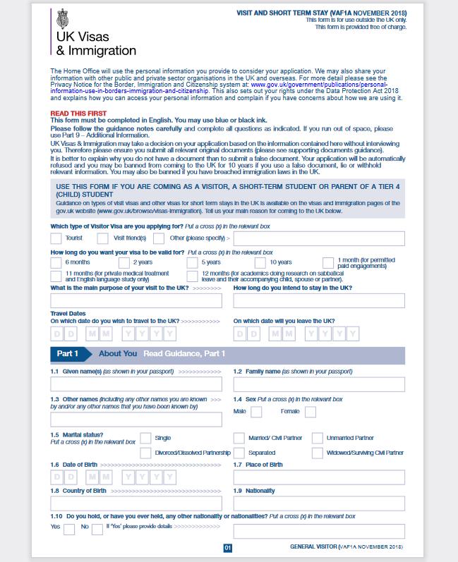uk visit visa application part-1