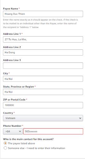 Form thông tin đăng ký Amazon Affiliate
