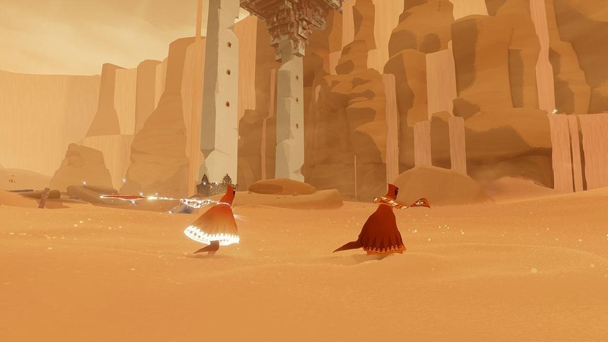 Screenshot z gry Journey (zwróćcie szczególną uwagę na szal bohatera )