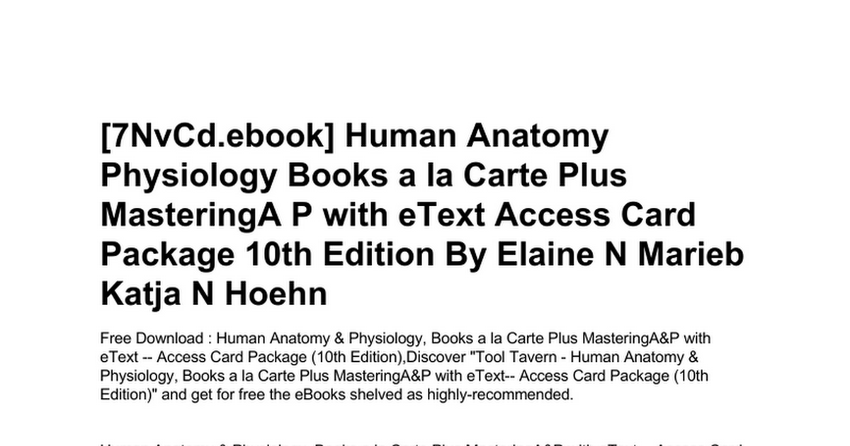 Beste Human Anatomy And Physiology Books Free Download Galerie ...