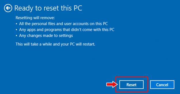click-reset-and-then-continue