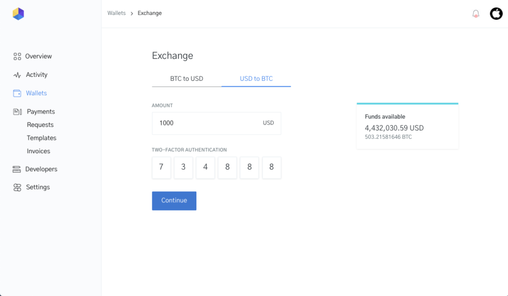 Image of Currency conversion to Bitcoin in OpenNode dashboard