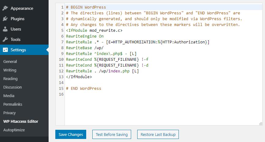 Editing htaccess with Plugin