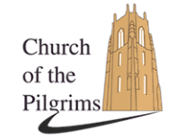 Text Church of the Pilgrims with church steel graphic