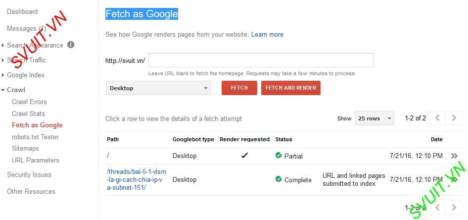 Fetch as Google(1)
