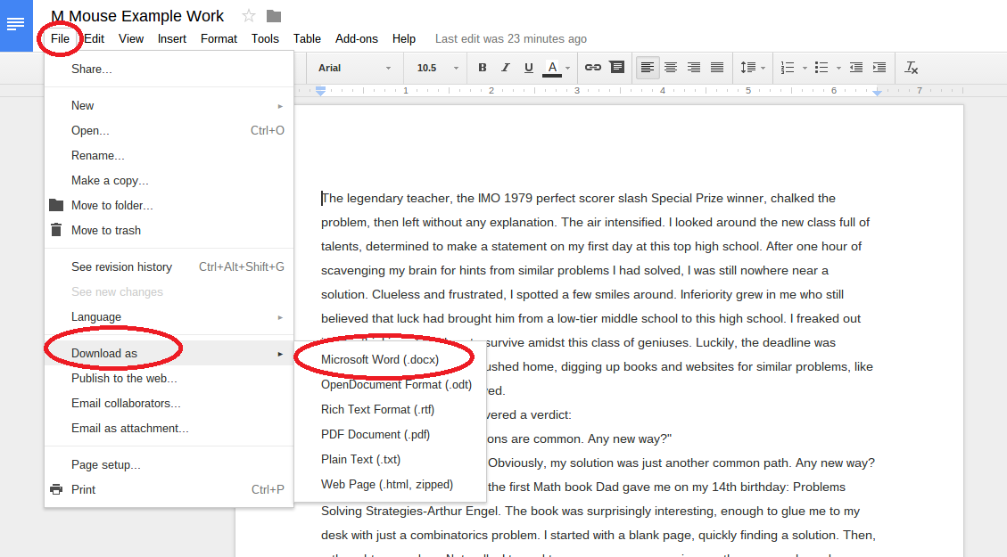 Converting Google Doc to Submittable Format : JEDI Virtual