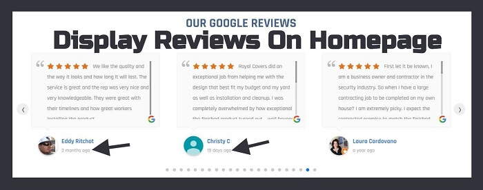 Reviews displayed on Apex Contracting's Homepage