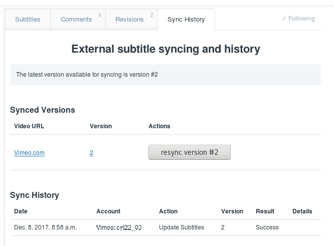 Screenshot of the Sync History tab for a public or Flexible team video