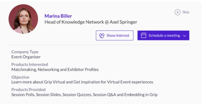A sample virtual summit participant profile on Grip.