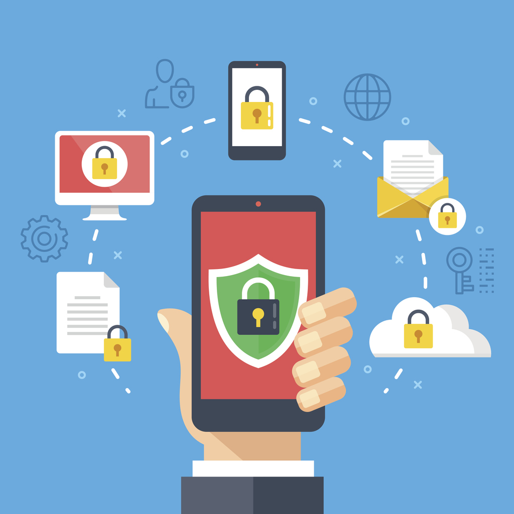Lock symbols over a phone, document, computer, email, and cloud to represent cybersecurity, one of the benefits of mobile device management.