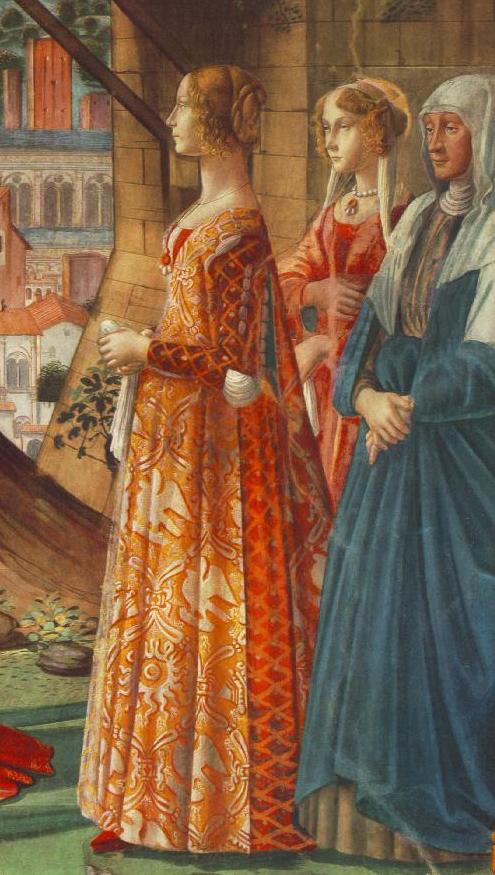Giovanna Tornabuoni and Her Accompaniment. Domenico Ghirlandaio Деталь фрески «Встреча Марии и Елизаветы».jpeg